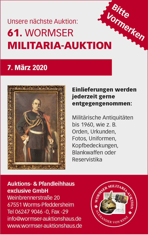 61. Wormser Militaria-Auktion findet am 7. März 2020 statt